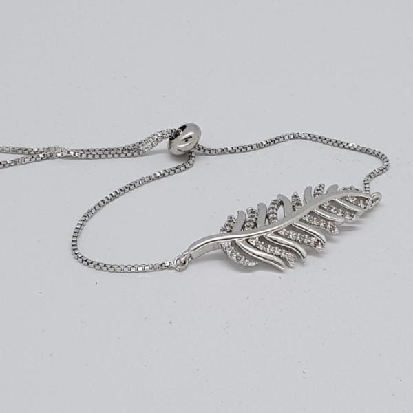 feather style bracelet in silver